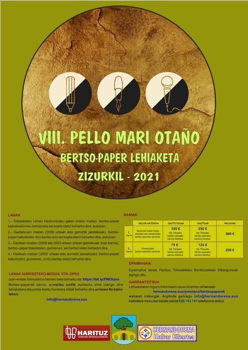 Pello Mari Otaño bertso-paper sariketa abian da